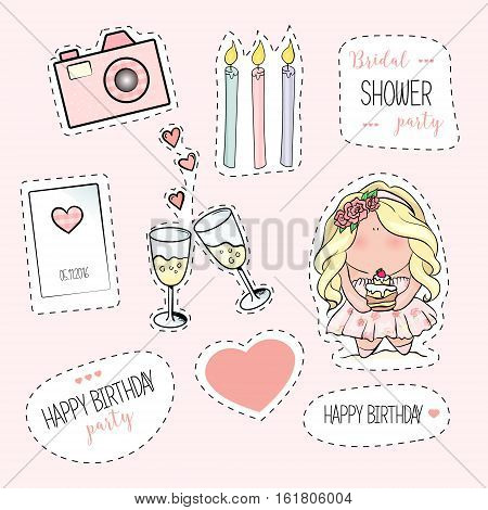 Bachelorette or birthday party stickers. bridal shower. print on t-shirt. wedding. 2 glasses of champagne, candles, hearts, camera
