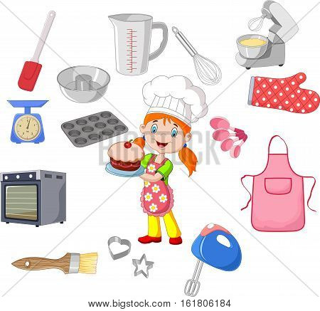 Vector illustration of Chef girl and cookware