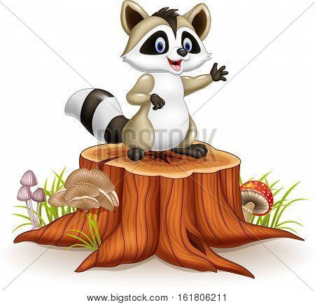 Vector illustration of Cartoon funny raccoon cartoon waving hand on tree stump
