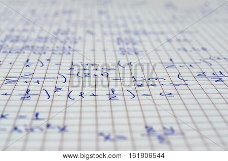 School Notebook With Handwritten Equations, Algebra for background and design