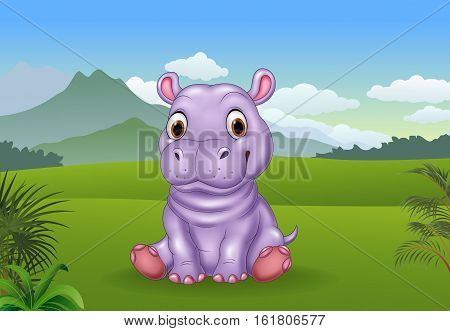 Vector illustration of Cartoon funny baby hippo sitting