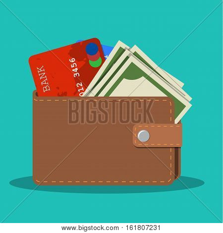 wallet with card and cash. Brown wallet with money. Concept for business, print, web sites, magazines, online shop, finance, banks. vector illustration in flat design