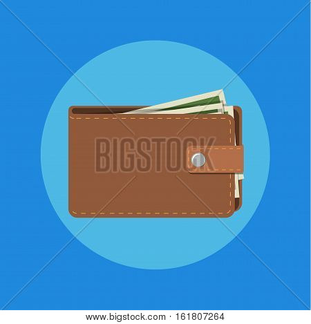 wallet with cash. Brown wallet with money. Concept for business, print, web sites, magazines, online shop, finance, banks. vector illustration in flat design