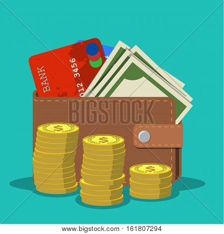 wallet with card and cash, gold coins. Brown wallet with money. Concept for business, print, web sites, magazines, online shop, finance, banks. vector illustration in flat design