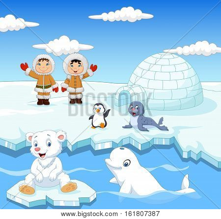 Vector illustration of Arctics animals collection set with igloo ice house