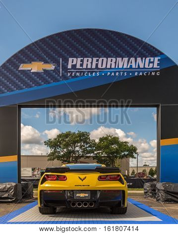 ROYAL OAK, MI/USA - AUGUST 18, 2016: A 2016 Chevrolet Corvette and Camaro SS car at the Woodward Dream Cruise. Woodward is a National Scenic Byway.