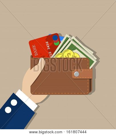 Hand holds a purse. Wallet with some money, coins and credit card. Concept for business, print, web sites, magazines, online shop, finance, banks. vector illustration in flat design