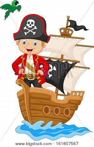 Vector illustration of Cartoon little pirate on his ship