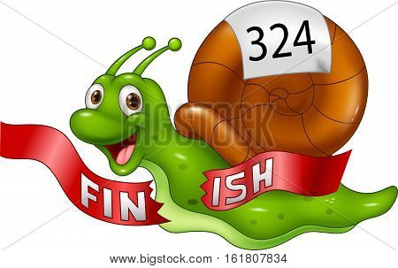 Vector illustration of Cartoon snail crosses the finish line alone as winner