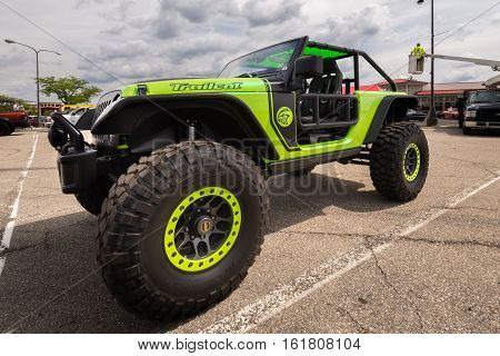 ROYAL OAK MI/USA - AUGUST 18 2016: A 2017 Jeep Wrangler Trailcat at the Woodward Dream Cruise. Woodward is a National Scenic Byway.