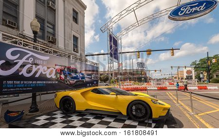 FERNDALE MI/USA - AUGUST 19 2016: A 2016 Ford GT car at