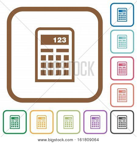 Calculator simple icons in color rounded square frames on white background