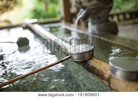 Japanese water ladle in temple