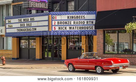 FERNDALE MI/USA - AUGUST 18 2016: A 1964 Plymouth Valiant Signet 200 car at The Magic Bag on the Woodward Dream Cruise route. Woodward is a National Scenic Byway.
