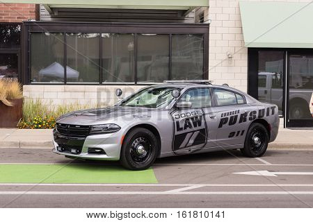 FERNDALE MI/USA - AUGUST 19 2016: A Dodge Charger police car at the Emergency Vehicle Show at the Woodward Dream Cruise. Woodward is a National Scenic Byway.