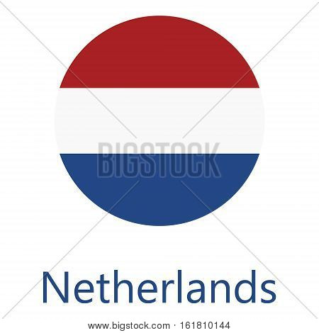 Round netherlands flag vector icon isolated netherlands flag button