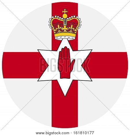 Vector illustration flag of Northern Ireland icon. Round national flag of Northern Ireland. Northern Ireland flag button