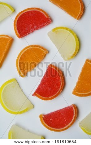colorful slices of fruit jellies in sugar