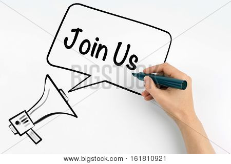 Join Us. Megaphone and text on a white background.