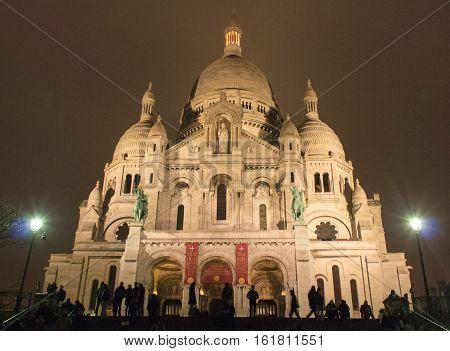 Paris, France, January 12, 2014. Basilique du Sacre Coeur at night in winter.