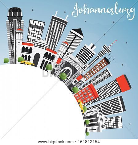 Johannesburg Skyline with Gray Buildings, Blue Sky and Copy Space. Business Travel and Tourism Concept with Modern Architecture. Image for Presentation and Banner.