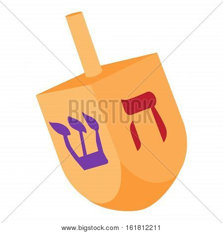 Vector illustration of Hanukkah dreidel and its letters of the Hebrew alphabet. Chanukah dreidel icon. Jewish hebrew toy