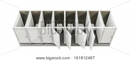 3d illustration of public toilets isolated on white background