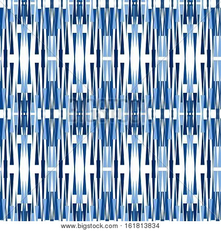 Blue Ikat Ogee Seamless Background Pattern. Abstract background for textile design wallpaper surface textures