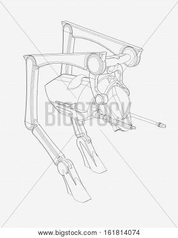 Science Fiction  CAD Design - Line Drawing of Walker Vehicle  origInal design produced on 3D CAD.