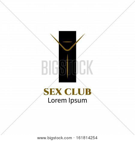 Logo for sex club. Gold and black line luxury minimalist vector icon. Sexy symbol sign emblem tag label.