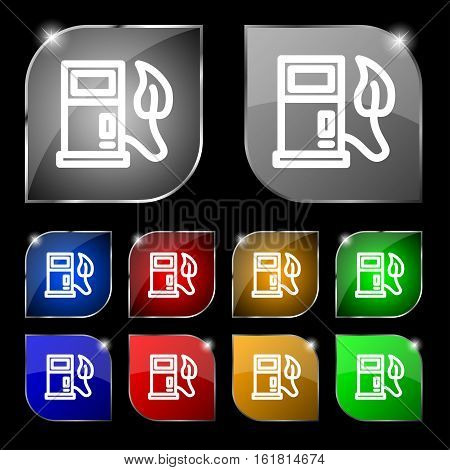 Gas Station With Leaves Icon Sign. Set Of Ten Colorful Buttons With Glare. Vector