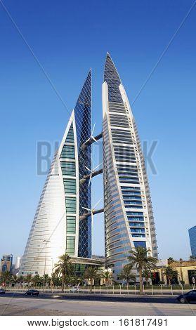 world trade center modern landmark skyscraper in central manama city bahrain