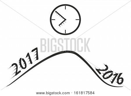 2017 New Year Vector. Time passes Quickly.
