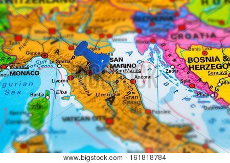 San Marino in Italy pinned on colorful political map of Europe. Geopolitical school atlas. Tilt shift effect.