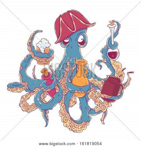 Drunk octopus-pirate with a drink in the tentacles. Drunkard in a cocked hat askew. Vector illustration isolated on white. T-shirt printing.