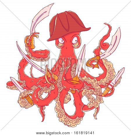 Angry pirate-octopus with arms. Sword, dagger, blade. Aggressive. Vector illustration isolated on white. T-shirt printing.