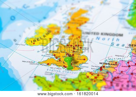 Birmingham in United Kingdom pinned on colorful political map of Europe. Geopolitical school atlas. Tilt shift effect.
