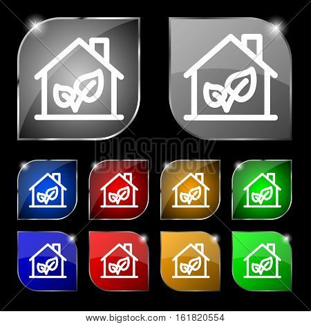 Bio Houses Icon Sign. Set Of Ten Colorful Buttons With Glare. Vector