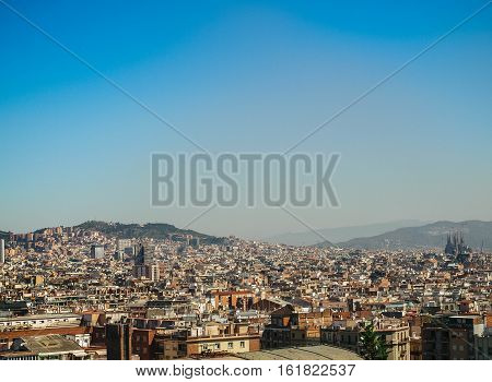 Barcelona Skyline View From Sunset To Night
