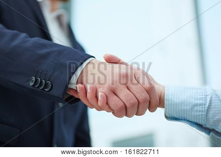 Male and female handshake in office. Businessman in suit shaking woman's hand. Serious business and partnership concept. Partners made deal and sealed it with handclasp. Formal greeting gesture.