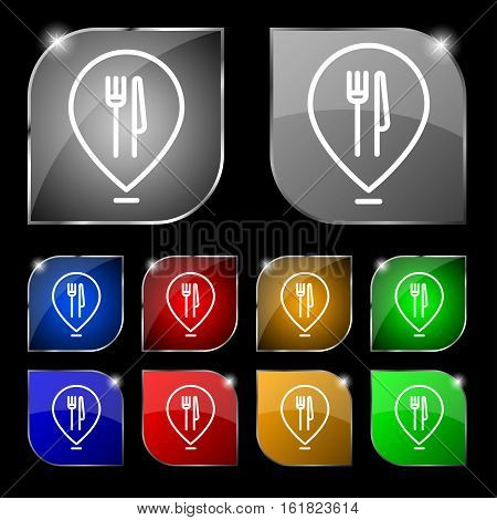 Map Pointer With Restaurant Icon Sign. Set Of Ten Colorful Buttons With Glare. Vector