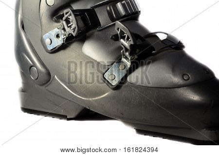 Grey ski boot isolated on a white background