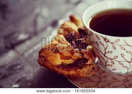Tea with pastries. Homemade sweet dessert witj tea