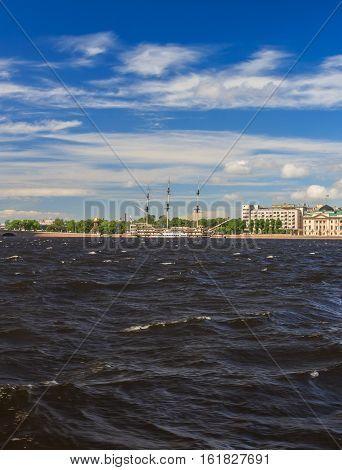 Frigate On The River Neva In St. Petersburg