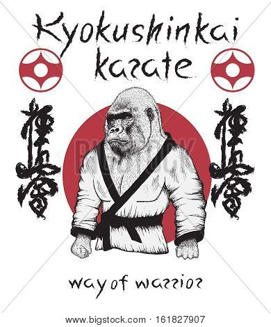 Kyokushinkai karate theme.Gorilla dressed in kimono. Japan martial art.Vector poster