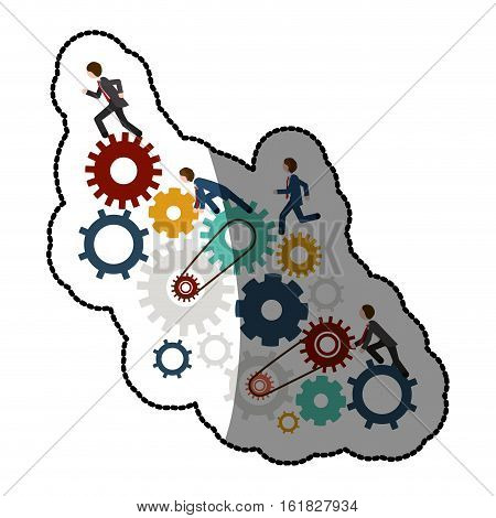 Gear and businessperson icon. Teamwork people corporate and workforce theme. Isolated design. Vector illustration