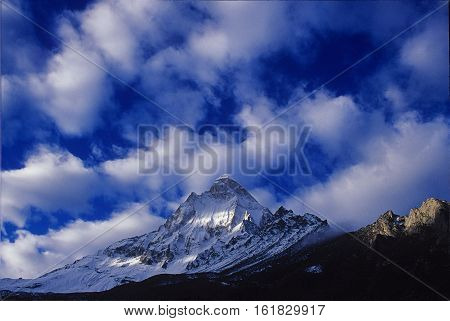 Shiv Ling Peak Garhwal Himalayas Uttarakhand India: 13 December 2006: Shiv Ling Peak at Tapovan in Western Himalayas Uttarakhand India. Shivling is a mountain at Tapovan in the Gangotri Group of Peaks in the western Garhwal Himalayas near snout of the Gan