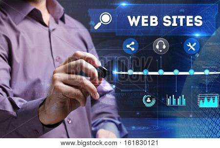 Technology, Internet, Business And Marketing. Young Business Person Sees The Word: Web Sites
