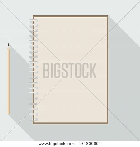 to left handed top view of flat vector design pencil and blank kraft paper notebook on background with long shadow effect