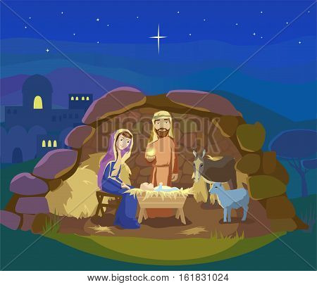 Christmas night. Birth of Jesus Christ in Bethlehem. Josef, Mary and the Baby in the manger. Sheep and donkey are looking at the King. Vector illustration